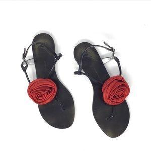 Giuseppe Zanotti Satin Rosette T-Strap Flat Sandal